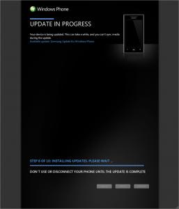 Windows Phone Update for Samsung Omnia 7 (Step 8)