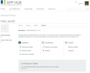 Windows Phone App Certification Failure
